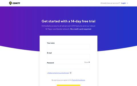 Screenshot of Signup Page cdn77.com - Free CDN Trial | CDN77.com - captured Sept. 22, 2019