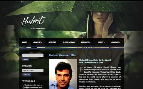 Screenshot of About Page hubertgem.com - Hubert Jewelry - captured Oct. 27, 2014