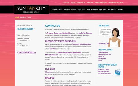 Screenshot of Contact Page suntancity.com - Contact Us - captured June 21, 2018