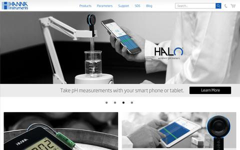Screenshot of Home Page hannainst.com - pH Meters, Photometers, Titrators, Controllers - Hanna Instruments - captured June 30, 2017