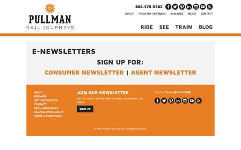 Screenshot of Signup Page travelpullman.com - Newsletters - Pullman Rail Journeys - captured Feb. 1, 2016