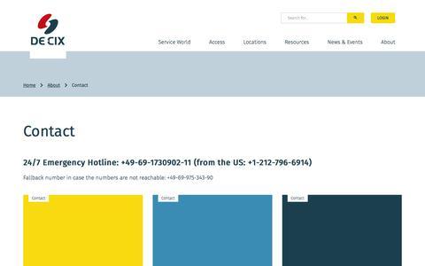 Screenshot of Contact Page de-cix.net - Contact - DE-CIX - captured Aug. 5, 2018