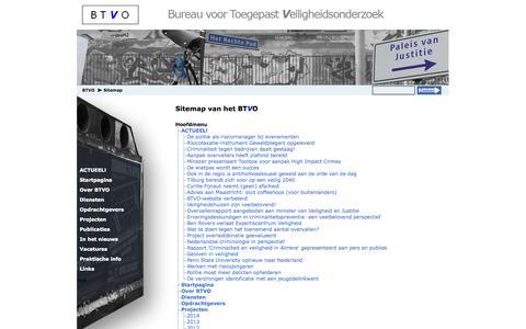 Screenshot of Site Map Page btvo.nl - BTVO - Bureau voor Toegepast Veiligheidsonderzoek | Sitemap - captured Oct. 5, 2014