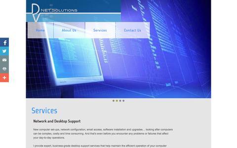 Screenshot of Services Page dvnetsolutions.com - Services - captured Sept. 30, 2014