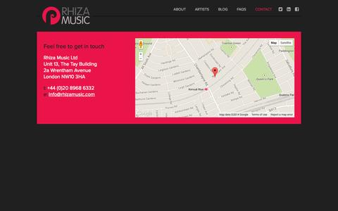 Screenshot of Contact Page rhizamusic.com - Contact | Rhiza Music - captured Oct. 26, 2014