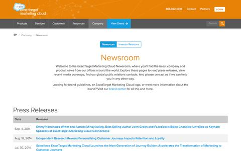 Screenshot of Press Page exacttarget.com - ExactTarget Marketing Cloud Newsroom | Our Company | ExactTarget - captured Sept. 13, 2014
