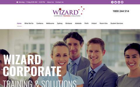 Screenshot of Home Page wizardcorporatetraining.com.au - Wizard Corporate Training & Solutions | Canberra | Melbourne | Sydney - captured Oct. 20, 2018
