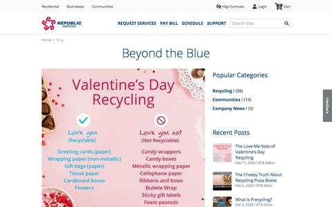 Screenshot of Blog republicservices.com - Beyond the Blue - Republic Services Official Blog | Republic Services - captured Feb. 17, 2020