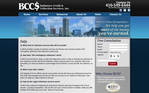 Screenshot of FAQ Page bccs2.com - Baltimore Credit and Collection Service FAQ   BCCS - captured Oct. 5, 2014