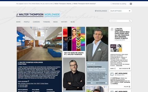 Screenshot of Home Page jwt.com - J. Walter Thompson Worldwide - captured Nov. 3, 2015
