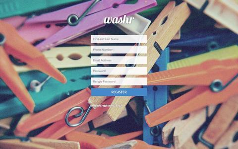 Screenshot of Signup Page washr.co.za - Register - captured Oct. 31, 2014
