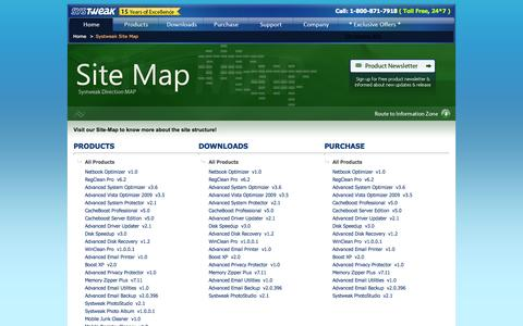 Screenshot of Site Map Page systweak.com - Systweak - Site Map - captured Sept. 19, 2014