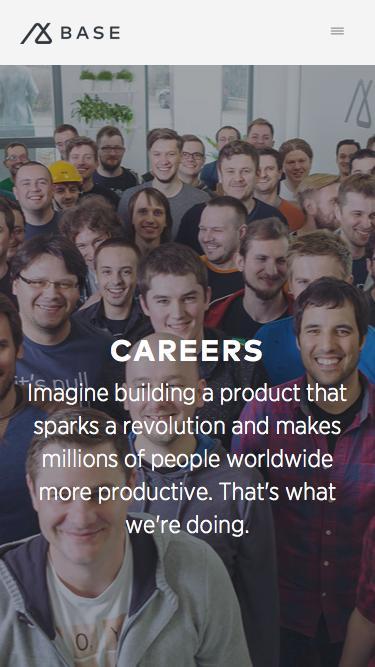 Screenshot of Jobs Page  getbase.com - Careers | Base CRM Base