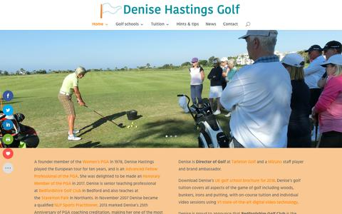 Screenshot of Home Page denisehastings.com - play better golf with Denise Hastings, Honorary Member of the PGA - captured Oct. 8, 2018
