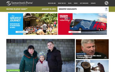 Screenshot of Home Page samaritanspurse.org - Samaritan's Purse — International Relief - captured Jan. 10, 2016