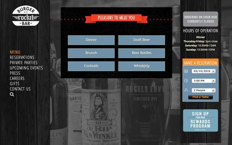 Screenshot of Menu Page rockitburgerbar.com - Menu - Craft Beers, Unique Whiskeys, Burgers Wrigleyville - captured March 15, 2016