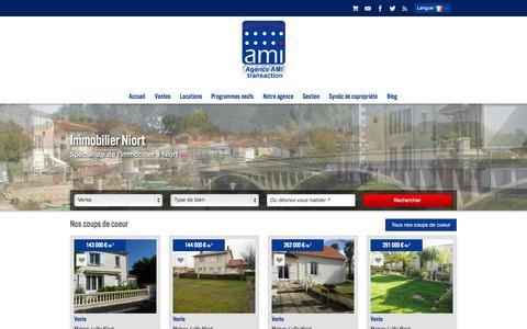 Screenshot of Home Page agence-ami.com - AGENCE AMI agence immobilière à Niort gestion locative et vente de maisons et appartements sur Niort, La Rochelle, Aiffres... - captured Sept. 25, 2014