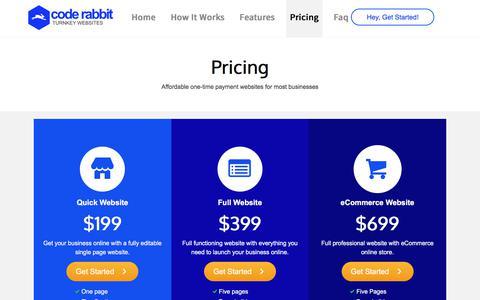 Screenshot of Pricing Page thecoderabbit.com - Pricing - The Code Rabbit - captured Jan. 26, 2018
