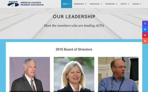 Screenshot of Team Page acpa.org - Leadership | American Concrete Pavement Association - captured Feb. 6, 2016