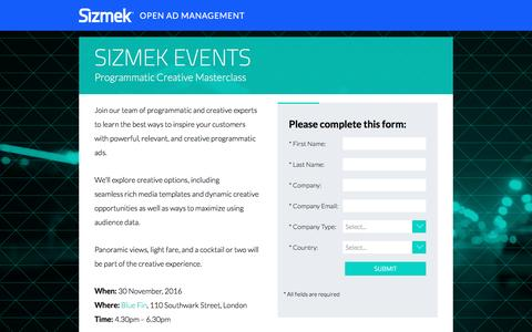 Screenshot of Landing Page sizmek.com - Sizmek Programmatic Creative Masterclass - captured Dec. 28, 2016