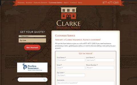 Screenshot of Support Page clarkeinsurance.com - Customer Service | Clarke Insurance Agency - captured Oct. 2, 2014