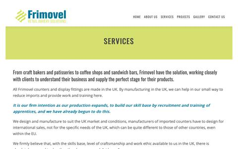Screenshot of Services Page frimovel.co.uk - SERVICES – Frimovel – Retail Bakery Solutions - captured Oct. 11, 2018