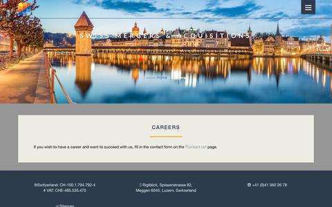 Screenshot of Jobs Page swissmanda.com - Careers and your future at Swiss Mergers and Acquisitions. - captured Oct. 18, 2018