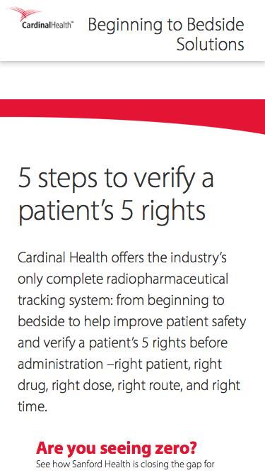 5 Steps to verify a patient's 5 rights - Beginning to Bedside | Cardinal Health Nuclear Pharmacy Services