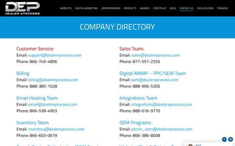 Screenshot of Contact Page dealereprocess.com - Company Directory - Dealer eProcess - captured Nov. 10, 2019