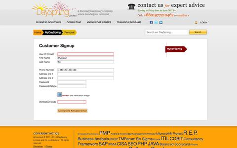 Screenshot of Signup Page dayspringltd.com - Personal | DaySpring Limited - first and only PMI R.E.P. in Bangladesh - captured Oct. 5, 2014