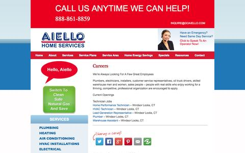 Screenshot of Jobs Page aiellohomeservices.com - Careers at Aiello Home Services | CT HVAC & Plumbing Jobs | Employment - captured Sept. 30, 2014