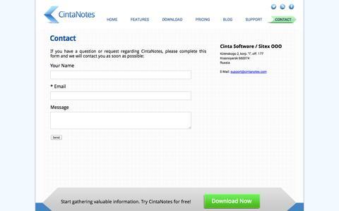 Screenshot of Contact Page cintanotes.com - CintaNotes - Note Taking Software  |  Contact - captured Nov. 4, 2014