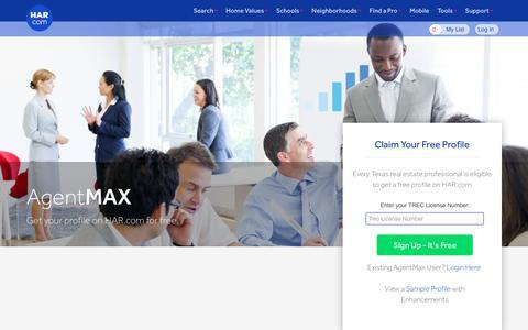 Screenshot of Signup Page har.com - Claim your profile on HAR.com | Texas Real Estate Pro - captured Aug. 12, 2016