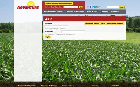 Screenshot of Login Page agventure.com - Log in | AgVenture, Inc. - captured Feb. 5, 2016