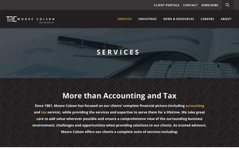 Screenshot of Services Page moorecolson.com - Moore Colson CPAs and Advisors, Accounting and Tax Services - captured Oct. 20, 2018