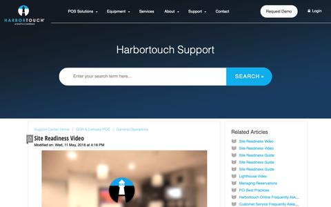 Screenshot of Support Page harbortouch.com - Site Readiness Video : Harbortouch Support Center - captured Oct. 9, 2018