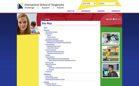 Screenshot of Site Map Page istafrica.com - International School of Tanganyika: Site Map - captured Oct. 6, 2014