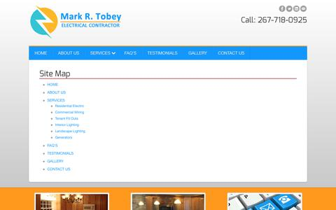 Screenshot of Site Map Page mrtelectric.com - Sitemap | Mark R. Tobey Electrical Contractor | Bucks, Montgomery County PA - captured July 7, 2017