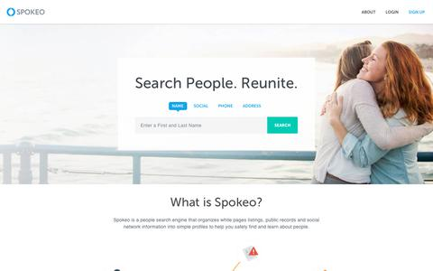 Screenshot of Home Page spokeo.com - Spokeo People Search | White Pages | Find People - captured April 8, 2018