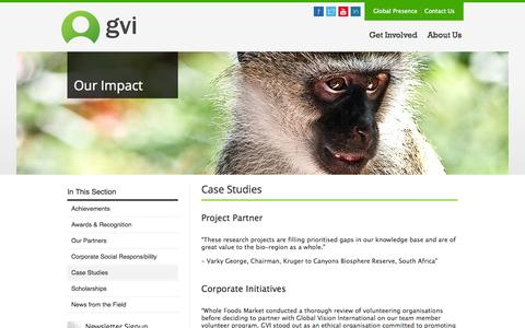 Screenshot of Case Studies Page gviworld.com - Case StudiesGlobal Vision International | Global Vision International - captured Oct. 8, 2014