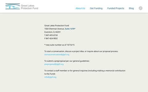 Screenshot of Contact Page glpf.org - Contact | Start a Conversation | Great Lakes Protection Fund - captured Feb. 1, 2016