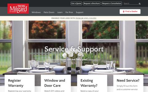 Screenshot of Support Page milgard.com - Window Care and Warranty Information | Milgard Windows and Doors - captured Sept. 23, 2018