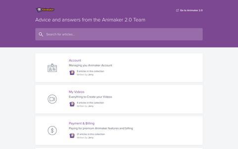 Screenshot of FAQ Page animaker.com - Animaker 2.0 Help Center - captured Jan. 11, 2020