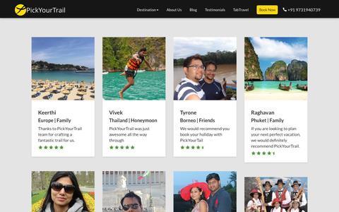 Screenshot of Testimonials Page pickyourtrail.com - Travel Testimonials | PickYourTrail - captured Sept. 20, 2015