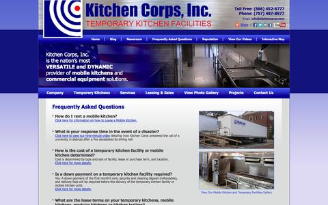 Screenshot of FAQ Page kitchencorps.com - Mobile Kitchen Trailers, Semi Trailers | KITCHEN CORPS - captured Oct. 6, 2014