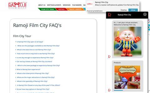 Screenshot of FAQ Page ramojifilmcity.com - Ramoji Film City - captured Feb. 11, 2020