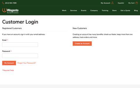 Screenshot of Login Page wagento.com - Customer Login - captured Sept. 22, 2018