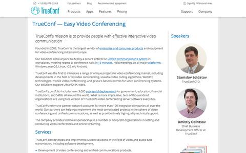 Screenshot of About Page trueconf.com - Video Conferencing Company | About TrueConf - captured Sept. 24, 2018