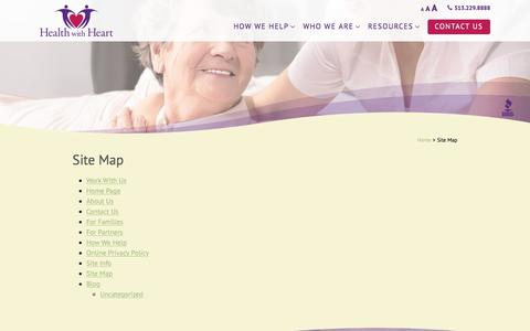 Screenshot of Site Map Page healthwithheart.com - Site Map - Health with Heart - captured July 28, 2017