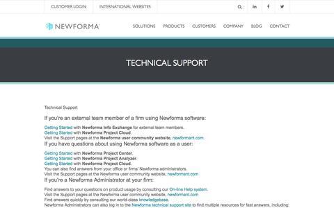Screenshot of Trial Page newforma.com - Technical Support | Newforma - captured Nov. 9, 2016